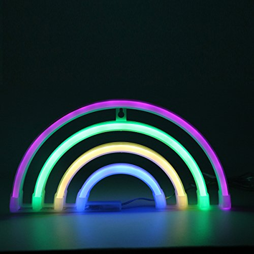 Rainbow Neon Light Signs,Rainbow Decor Light,Marquee Battery Or USB Operated Table Led Ligths Wall Decoration for Girls Bedroom,Living Room, Christmas,Party as Kids Gift (4 Color Rainbow) (Gifts Neon Sign)