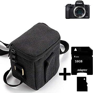 K-S-Trade Compatible con Canon EOS M50 Cámara Bolsa Funda De Hombro Estuche Bolso Compacto Resisten A Los Golpes Protección, Negro + 16GB Tarjeta De Memoria: Amazon.es: Electrónica