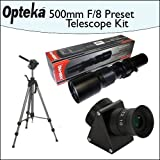 Opteka 500mm f/8 High Definition Preset Telephoto Lens + Lens Converter To Telescope Kit + Opteka 70'' Professional Tripod