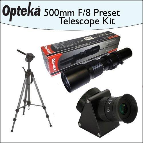 Opteka 500mm f/8 High Definition Preset Telephoto Lens + Lens Converter To Telescope Kit + Opteka 70'' Professional Tripod by Opteka