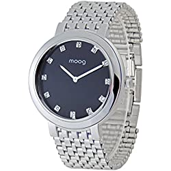 Moog Paris - Caresse - Women / Men Watch with black dial, silver strap in stainless steel - - Made in France - M46174-001