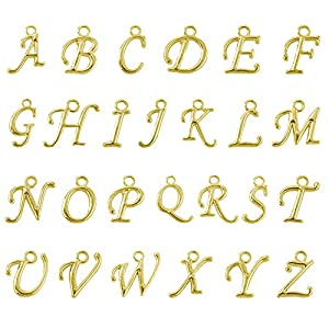 beadnova 13 14mm gold plated alphabet a z letter charms pendant loose beads set for jewelry making 100pcs