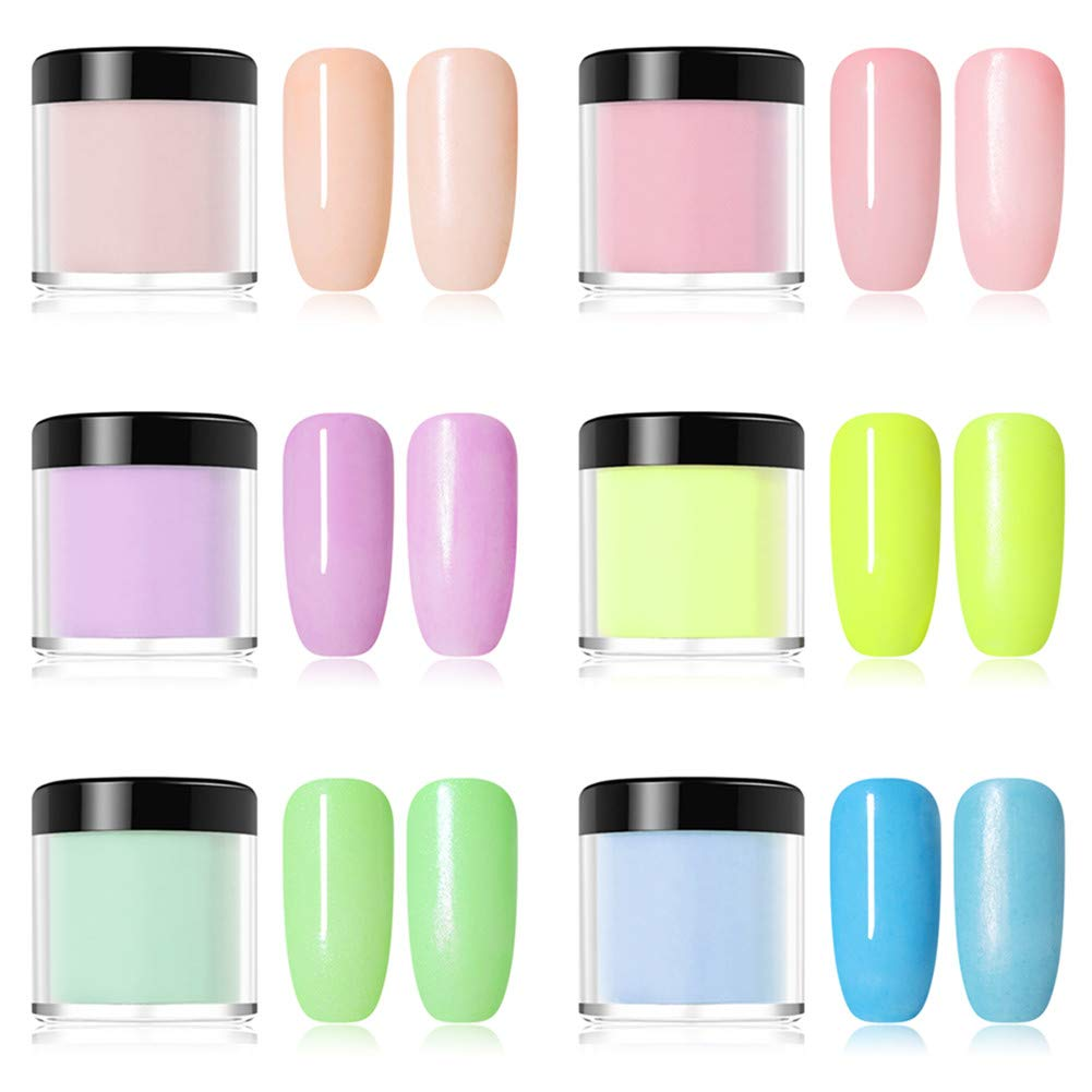 NICOLE DIARY Dipping Powder Acrylic Nail Powder Without Lamp Cure Natural Dry Nail Glitter Long Lasting Fruity Series Nail Art Decoration 6 Boxes 10ml (6 colors)
