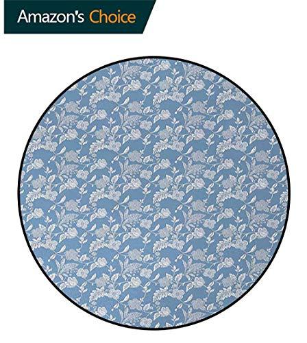 Blue And White Modern Machine Washable Round Bath Mat,Artistic Illustration Flourishing Garden Flowers Pattern In Vintage Style Non-Slip Living Room Soft Floor Mat Round-59 Inch,Blue White from DESPKON-HOME