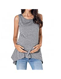 ASTV Women Maternity Clothes Nursing Tops Stripe Breastfeeding Vest