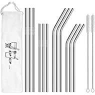 Hiware 12-Pack Reusable Stainless Steel Metal Straws with Case - Curved Drinking Straws for 30 oz and 20 oz Tumblers Yeti Dishwasher Safe - 2 Cleaning Brushes Included