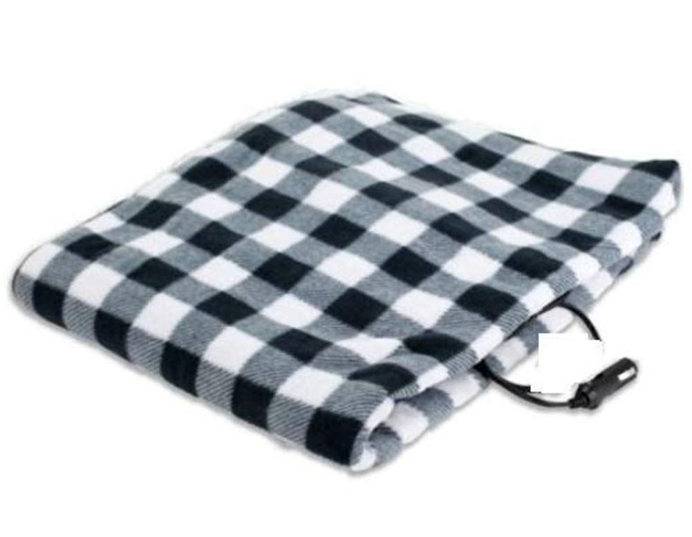Electric blanket 12V Car Electric Heating Blanket Automotive Heated Electric Travel Cold Weather Electric Pads,Plaid,Black+red LIBINA