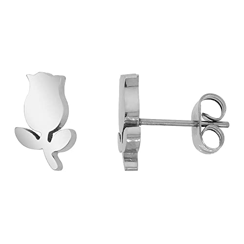 e60d632c8a0d Amazon.com  Small Stainless Steel Tulips Stud Earrings 3 8 inch  Jewelry