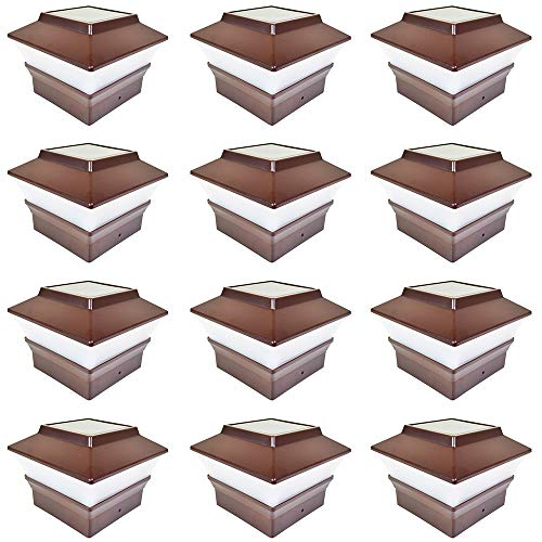 iGlow 12 Pack Brown Outdoor Garden 4 x 4 Solar LED Post Deck Cap Square Fence Light Landscape Lamp PVC Vinyl Plastic