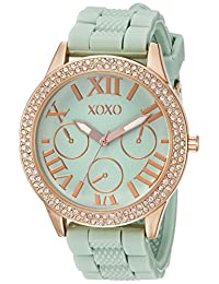 XOXO Women's XO8089 Gold-Tone Stainless Steel Watch with Mint Green Silicone Band