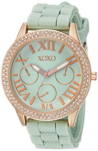 XOXO Women's XO8089 Gold-Tone Stainless Steel Watch with Mint Green Silicone Band (Xoxo Women Silicone Watches)