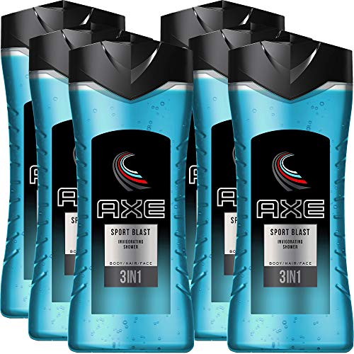 Axe 3 in 1 Shower Gel for Body, Hair and Face, Sports Blast Invigorating Body Wash for Men, 6 Pk x 13.52 Fl. Oz each