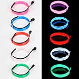 EL Wire Neon High Bright Glowing Lights Wire with Battery Controller for Burning Man Halloween Christmas Party DIY Decoration (Blue/Red/Green/White/Pink)-1m (Multi-Colored)