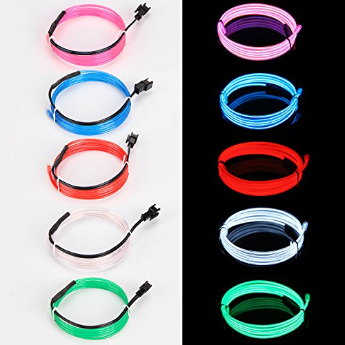(EL Wire Neon High Bright Glowing Lights Wire with Battery Controller for Burning Man Halloween Christmas Party DIY Decoration (Blue/Red/Green/White/Pink)-1m (Multi-Colored))