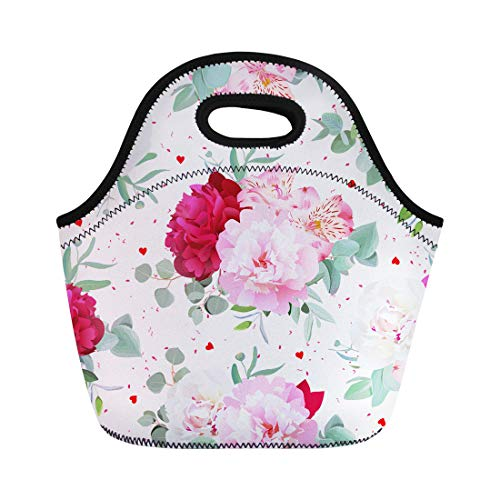 Semtomn Neoprene Lunch Tote Bag Romantic Floral Peony Alstroemeria Lily Mint Eucalyptus on White Reusable Cooler Bags Insulated Thermal Picnic Handbag for Travel,School,Outdoors,Work