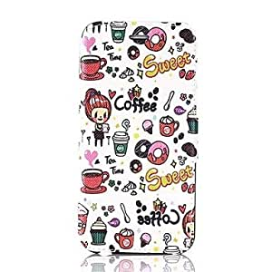 LCJ Sweet Coffee Pattern PU Leather Full Body Protection Cover with Stand and Card Slot for iPhone 6
