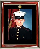 US Navy Logo 8 X 10 Portrait Picture Military Wall Black Matted Photo Frame. Glossy Prestige Mahogany with Gold Accents Wood Frame as United States Navy Military Gifts, Retirement Gift and Soldier Military Frame offers