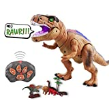 Remote Control Dinosaur Toy - LED Luminous Glowing Walking and Roaring Realistic T Rex Dinosaur Toy Powered by Battery Suitable for Kids Boys Girls 3-12 Years Old