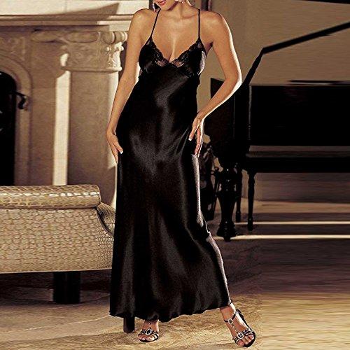 Noir Bretelles vêtements Ouverte Dos Satin Lingerie Longue Transparent Dentelle Kits Sous Couette Sexy Robe Col V Guesspower Nu Femmes Nuisette De Blanc k0wXO8nP
