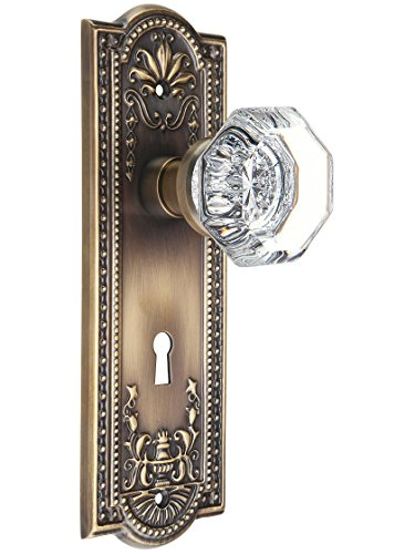 Meadows Design Mortise-Lock Set with Waldorf Crystal Knobs in Antique-by-Hand. ()