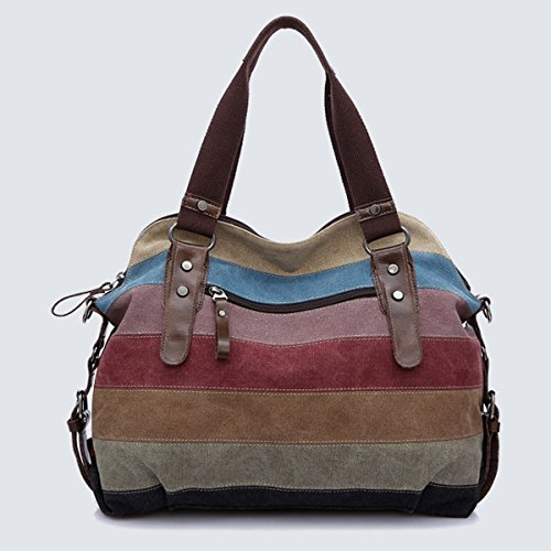 Canvas Women's Handbag LA 1 Shoulder Style Hobo Shopper Bag Tote Fashion HAUTE Multi Color wA4RXp4