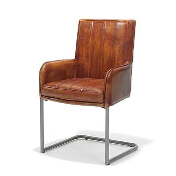 Pharao24 Freischwinger Stuhl In Cognac Braun Aus Echtleder Mit