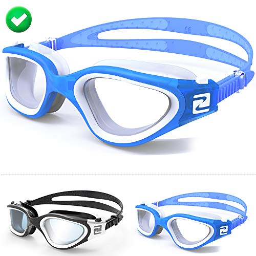 ZABERT Swim Goggles, W1 Blue White Clear Lens Pro Swimming Goggles for Women Men Youth Adult Kids Girls Boys - Clear Lens Anti Fog UV Quick Adjust Large Size Wide View - Indoor Open Water