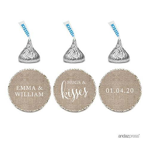 Andaz Press Personalized Wedding Chocolate Drop Label Stickers, Hugs and Kisses, Burlap Print, 216-Pack, for Engagement Bridal Shower Hershey's Kisses Party Favors