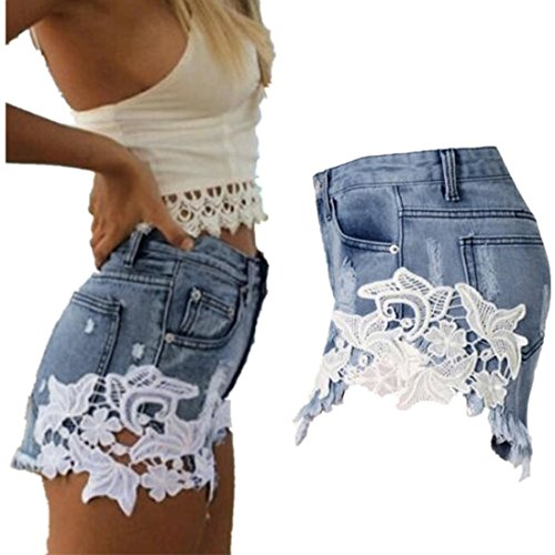 Waist Tassel Hole Denim Shorts (Blue) - 1