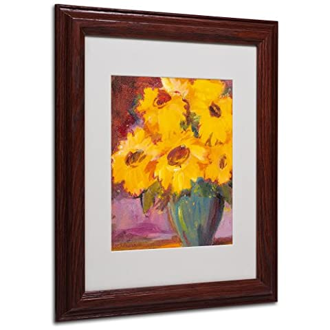 Trademark Fine Art Sunflower No.5 Matted Framed Art by Sheila Golden in Wood Frame, 11 by 14-Inch