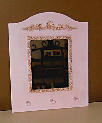 Hand Painted Peg - Wall Mirror, Pink and Gold, Hand Painted, Shabby Chic, Upcycled, Peg Hooks, Baroque Design, Made of Wood, Nursery Decor, Girls Room Decor