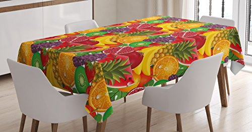 Ambesonne Colorful Tablecloth, Exotic Tropical Fresh Ripe Juicy Fruits Pineapple Berries Watermelon Grape Orange, Dining Room Kitchen Rectangular Table Cover, 60 W X 84 L Inches, Scarlet
