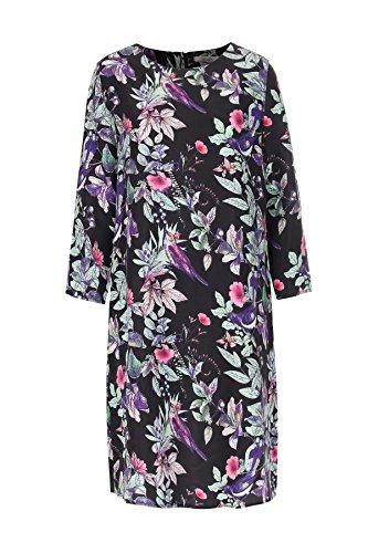 aus Print mit Kleid Seide Blätter Mehrfarbig Vogel bloom 5PaYqwq