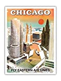Chicago, USA - Marina City, Chicago River - Fly Eastern Airlines - Vintage Airline Travel Poster c.1960s - Master Art Print - 9in x 12in