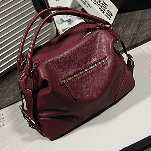 de de Beige Mujer Red Bolsas para Wine 32x22x15cm Bolso Cuero Mensajero dxXRqdU
