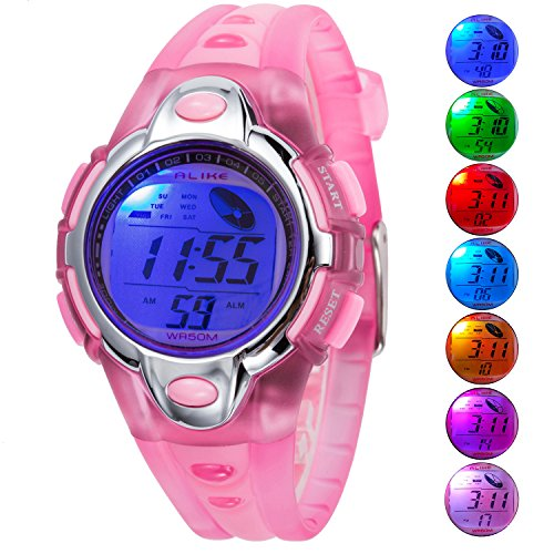 Kid Watch For Child Boy Girl Fashion LED Multi Function Sport Outdoor Digital Dress 50M Waterproof Alarm Pink Girls Fashion Watch