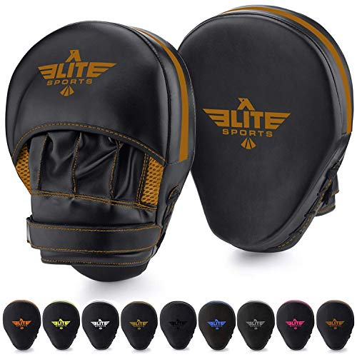 Elite Sports Boxing Mitts for Muay Thai MMA Sparring Training Punching Focus Punch Target Mitts and Pads (Copper)