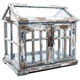 RX-789 Wood Terrarium Greenhouse Distressed Plant Flower Holder Shabby Chic Indoor Gray Brown & White 15""