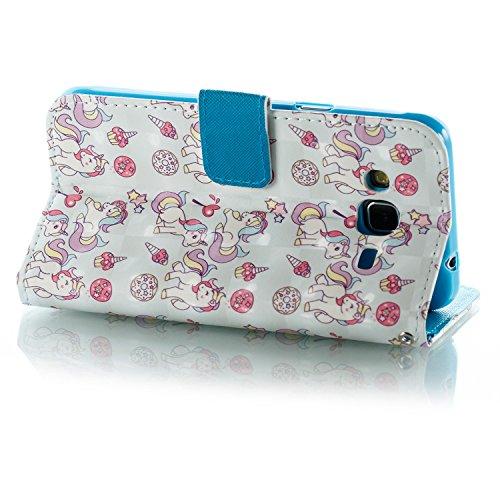 Lotuslnn Samsung J3 2016 caja del teléfono, caja de cuero de la PU cubierta de cierre magnético cubierta con Kickstand y ranuras para tarjetas de bolsillo en efectivo para Samsung J3 2016 - Horse pink Horse white