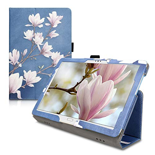 kwmobile Case Compatible with Huawei MediaPad M5 Lite 10 - Slim PU Leather Tablet Cover with Stand Feature - Magnolias Taupe/White/Blue Grey