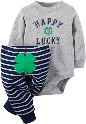 [Carter's 2 Piece St Patty's Set, Happy Go Lucky, 12 Months] (Baby St Patricks Day Clothing)