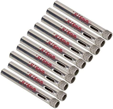 babyzhang 4Pcs 6mm Diamant beschichtete Bohrer Fliese KeramikglaslochsägeHolzSäge Werkzeuge, Silber