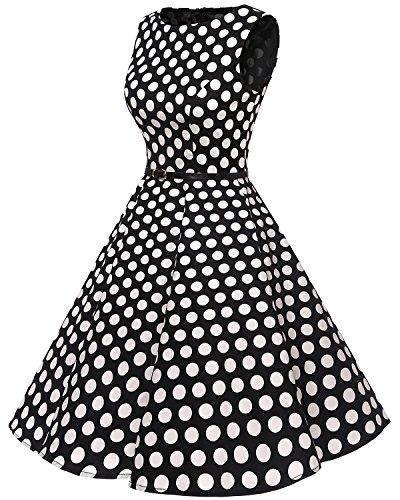 Vestidos 50s Big Dot Black Vintage White Retro Bbonlinedress Clásico Rockabilly vaBqOxwx