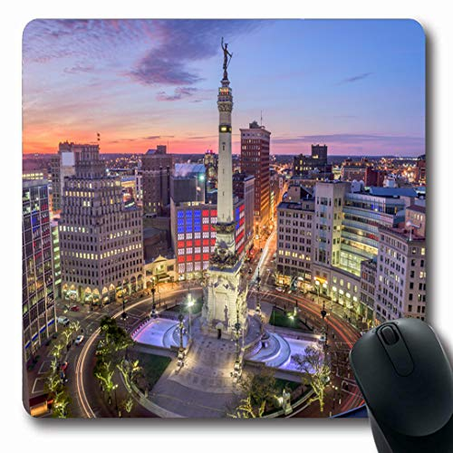 Ahawoso Mousepads Cityscape Circle Indianapolis Indiana USA Skyline Over Monument Downtown Traffic Aerial View Design Oblong Shape 7.9 x 9.5 Inches Non-Slip Gaming Mouse Pad Rubber Oblong Mat