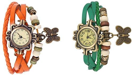 Set Weave Bracelet (Set of 2 (Orange & Green )Vintage Antique Retro Style Weave Wrap Leather Strap Trendy Ladies Bracelet Watch With Butterfly Pendant COMBO OFFER)