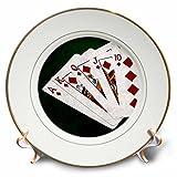 3dRose Alexis Photo-Art - Poker Hands - Poker Hands Royal Flush Diamonds - 8 inch Porcelain Plate (cp_270298_1)