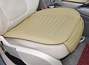 EDEALYN Four Seasons General PU Leather Bamboo Charcoal Breathable Comfortable Car Interior Seat Cushion Cover Pad Mat for Auto Car Supplies Office Chair (Beige)