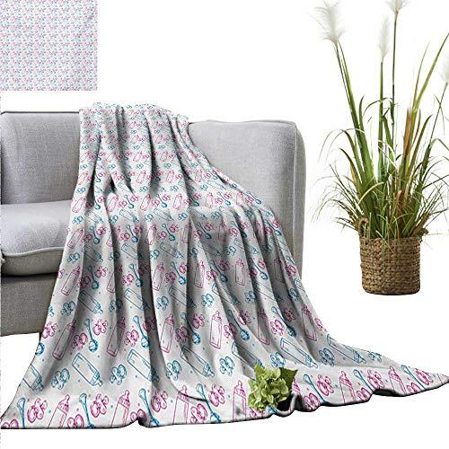 Luxury Flannel Fleece Blanket Baby,Milk Bottles Pacifiers Ra