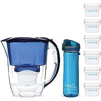 Aqua Optima Optima Oria Drinkfles, blauw, met 6 maanden filterpatronen, 2,8 liter inhoud, smalle koelkast, met 5-traps…