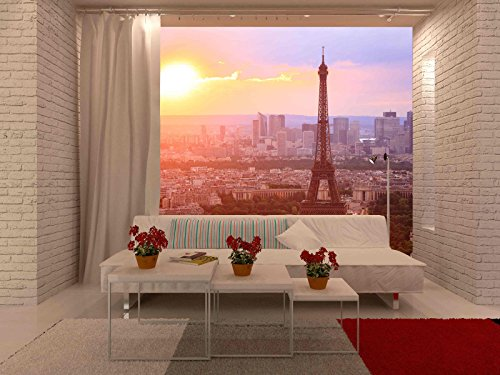 wall26 - Eiffel Tower, Paris at Sunset. Beautiful Colors. - Removable Wall Mural | Self-adhesive Large Wallpaper - 66x96 inches